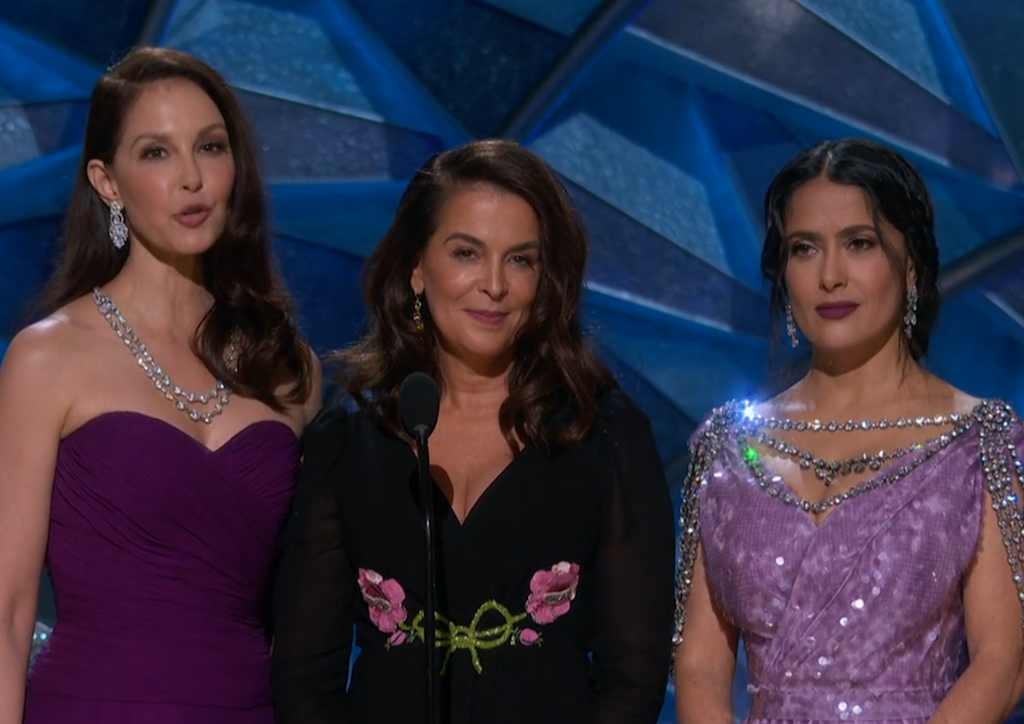 Ashley Judd, Annabelle Sciorra and Salma Hayek Pinault give a speach about inclusion in Hollywood
