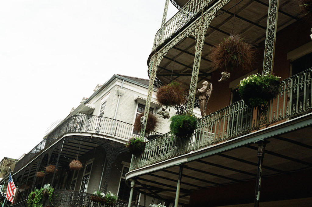 Iron balconies are a staple in French Quarter architecture