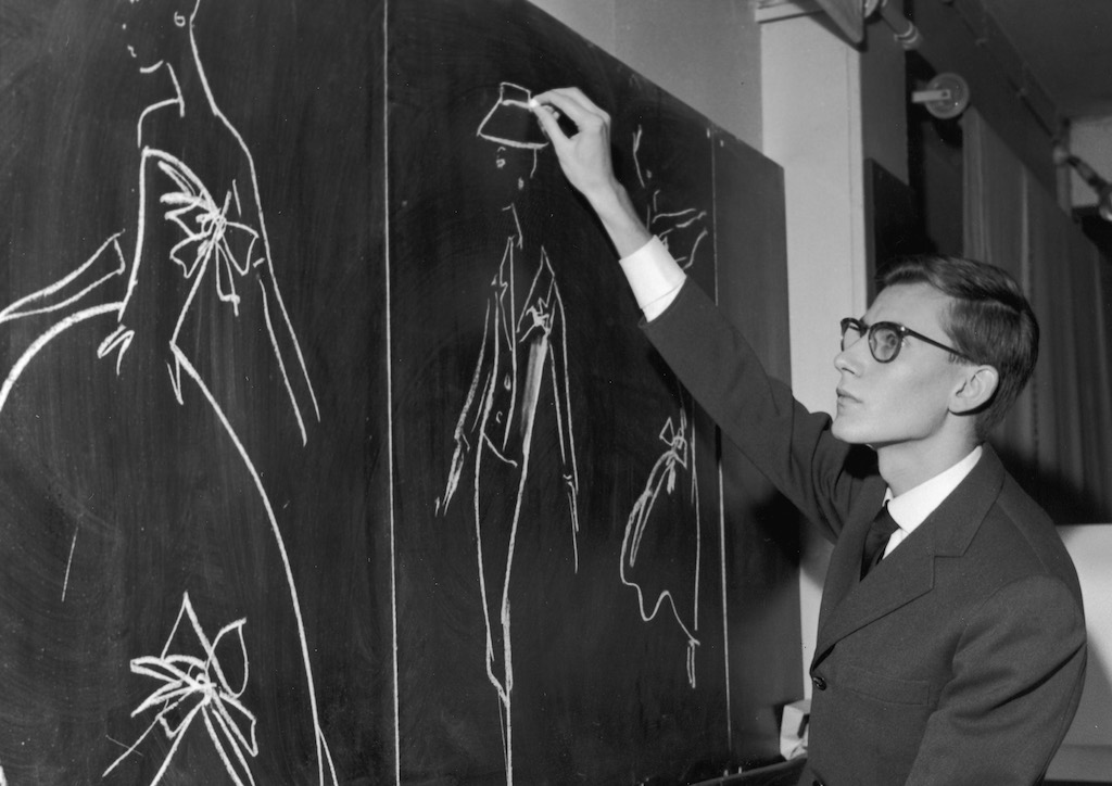 Yves Saint Laurent sketching for the House of Dior, circal 1960s