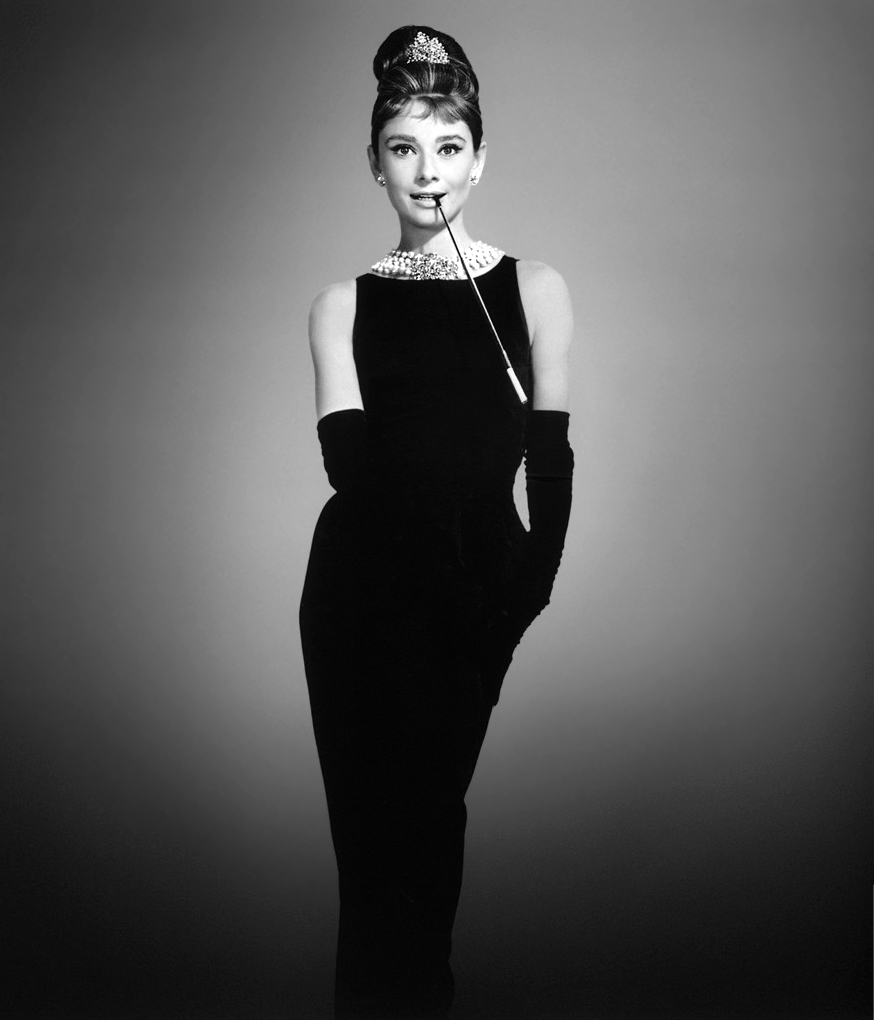 """Audrey in """"the original little black dress"""" designed by Givenchy for Breakfast at Tiffany's (1961)"""