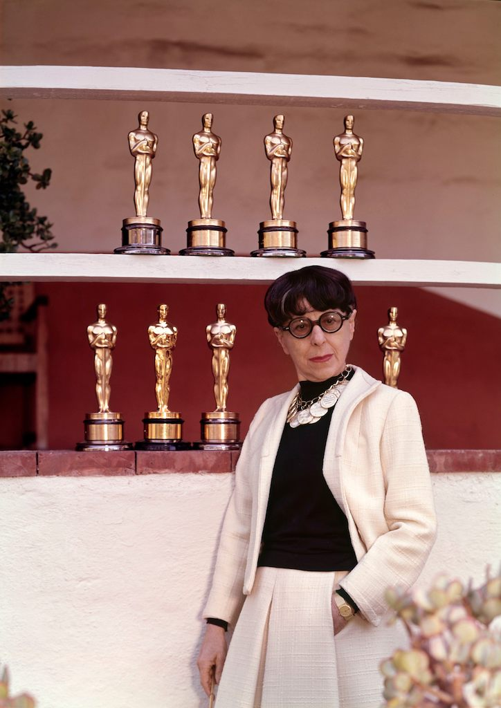 Edith Head with her eight Academy Awards for Costume Design
