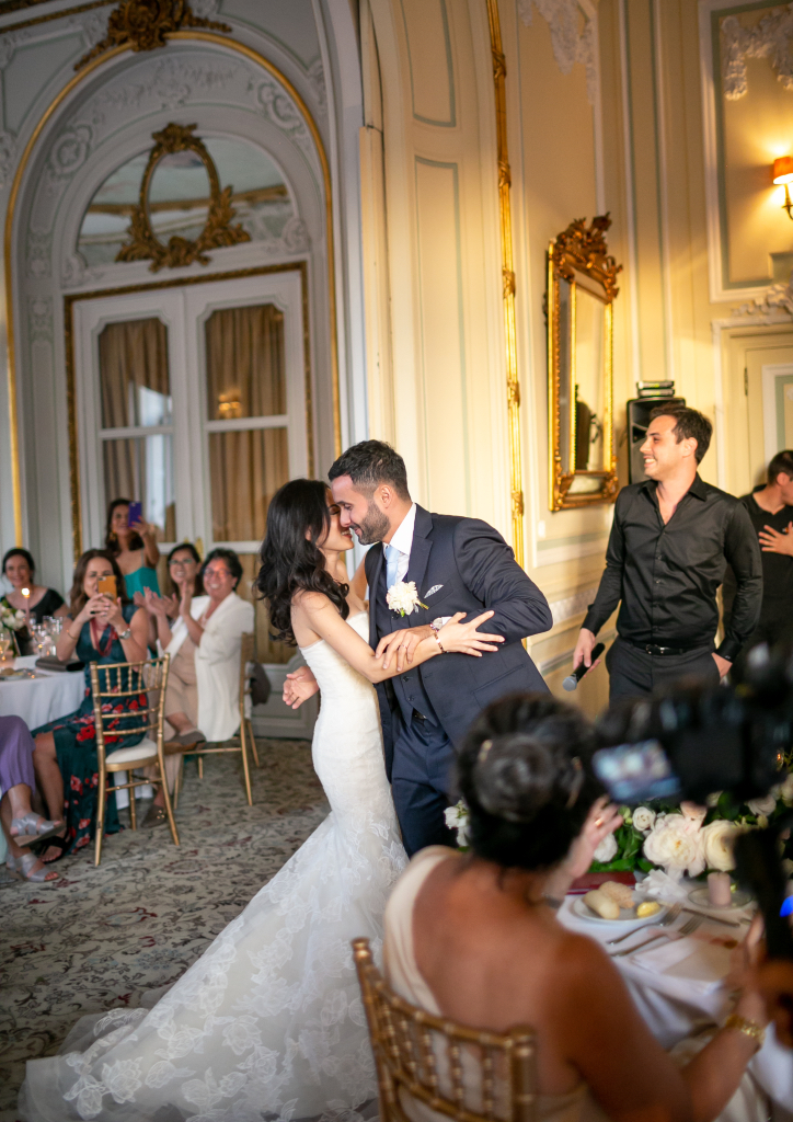 The couple dancing at their reception (Photograph by Catarina Zimbarra)