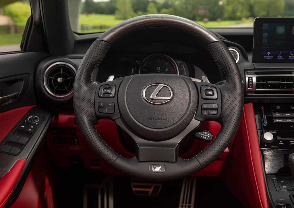Precise adjustments on suspension springs, shock absorbers, and electric power steering on the 2021 Lexus IS were made to elevate comfort and stability.